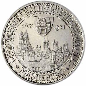 Weimarer Republik 3 Reichsmark Silber Magdeburg 1931 Silber