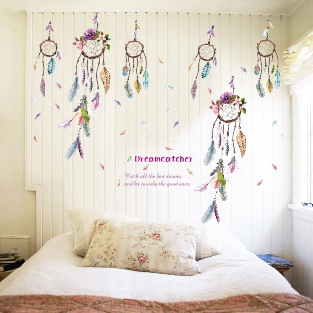 Flower Dream Catcher Quote Vinyl Decal Bedroom Art Wall Sticker Background Top For Sale Online Ebay