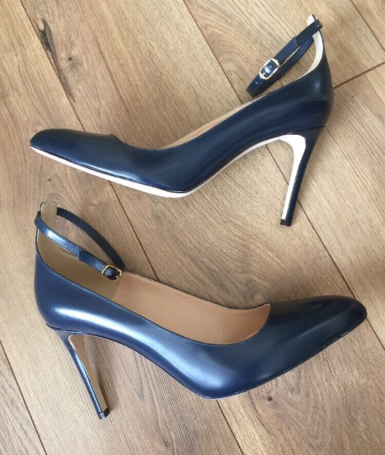 New JCREW Glossy Leather Pumps With With With Ankle Strap Navy F4873  278 Sz 11 SOLDOUT e60561