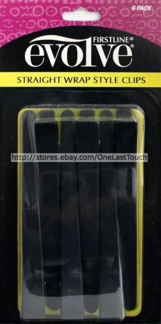FIRSTLINE Evolve 6 PACK Straight Wrap STYLE CLIPS Holds Back Hair BLACK (Carded)
