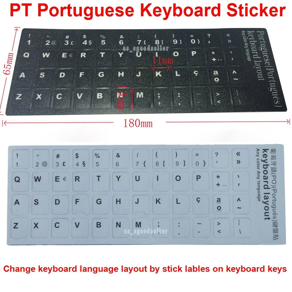 REPLACEMENT PORTUGUESE TRADITIONAL KEYBOARD STICKERS ON BLACK BACKGROUND