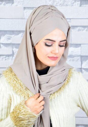 S617 Fertig Kopftuch Hazir Chiffon Türban Esarp Bone Sal Tesettür Hijab Khimar