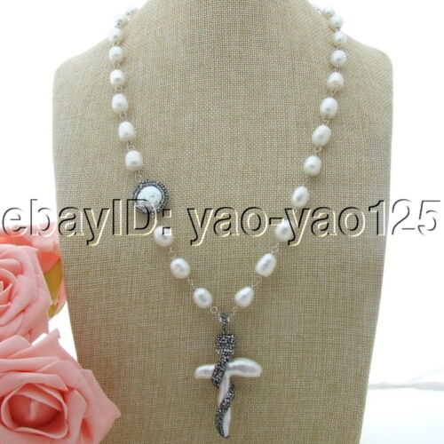 25/'/'37x57MM White Rice Pearl Necklace Cross Pearl Pendant
