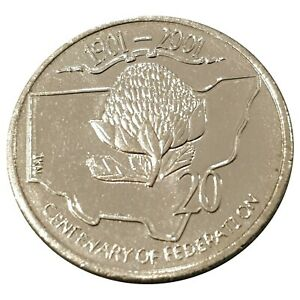 Australia-2001-Federation-Centenary-NSW-20c-Cents-Uncirculated-Coin-Loose-RAM
