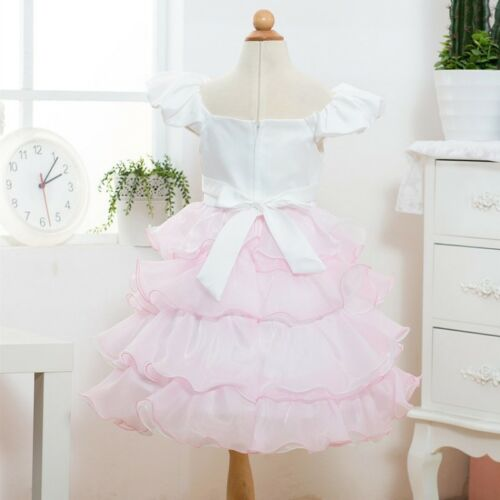 Little Girls Toddler Princess Pageant Party Tutu Bow Flower Formal Dress Kid