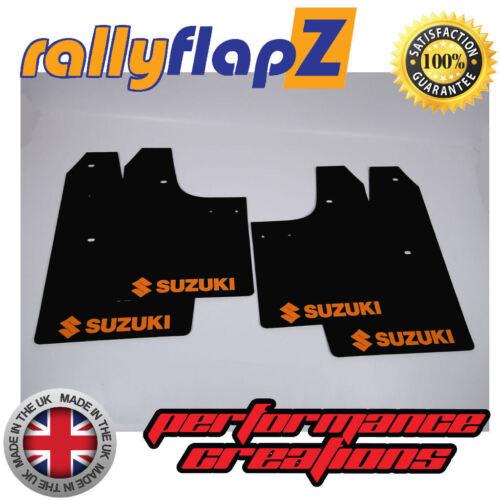 Rallyflapz SUZUKI IGNIS SPORT 03-05 MUD FLAP ANTIBECCHEGGIO LOGO NERO ARANCIONE 3mm PVC