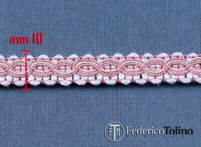 10 mm bordino Bordo rosa antico// avorio passamaneria bouillone largh