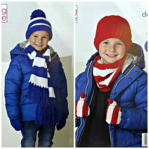 KNITTING PATTERN Childrens Easy Knit Striped Hat Scarf Mitts DK King Cole 5266