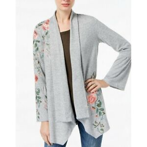 INC-NEW-Women-039-s-Floral-Embroidered-Bell-Sleeve-Cardigan-Sweater-Top-TEDO
