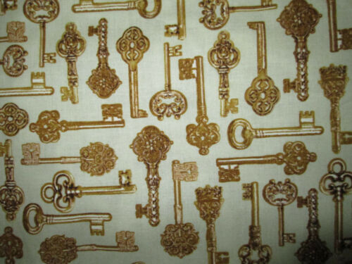 KEYS VINTAGE KEY GOLD VARIETY COTTON FABRIC FQ