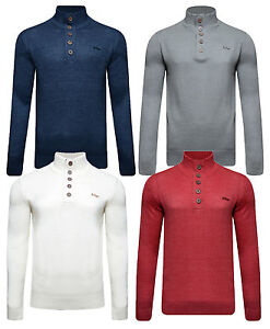 Lee-Cooper-New-Men-s-Slim-Fit-Button-Neck-Jumper-Knitted-Fashion-Winter-Pullover
