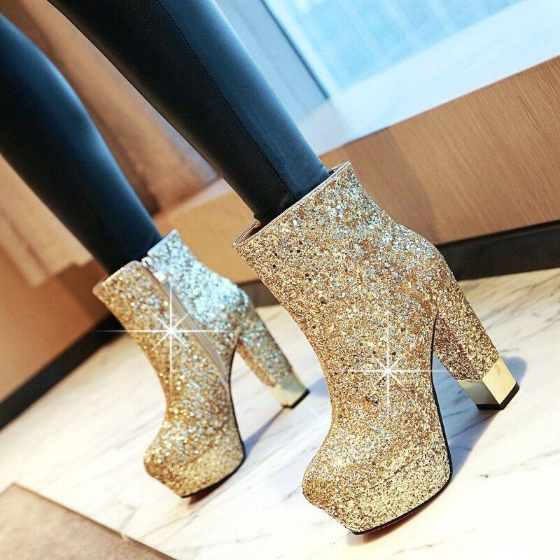 Chic Women Platform High Block Heel Sequin Bling Bling Ankle Boot Shoe Club New
