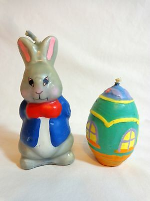 Easter Candles Bunny Rabbit in Jacket Decorative Egg House Molded Wax Vintage