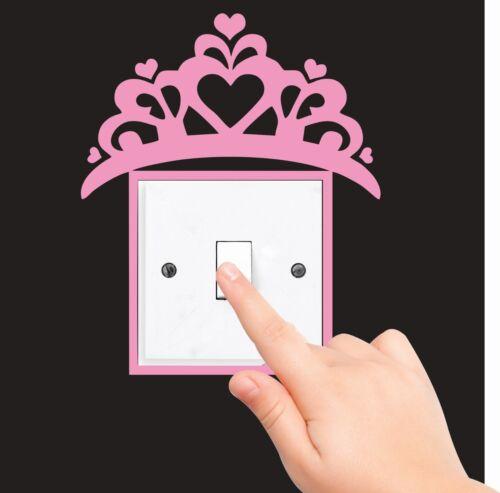 PRINCESS CROWN TIARA LIGHT SWITCH PLUG SURROUND sticker WALL ART fairy tale 2