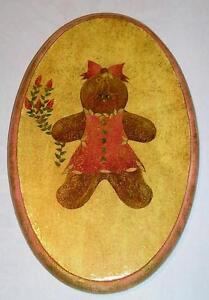 VINTAGE CHRISTMAS PINK GINGERBREAD COOKIE GIRL ROSES DISTRESSED WOOD PAINTING