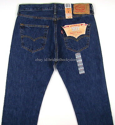 NWT NEW MENS LEVIS 501 JEANS DARK STONEWASH -MANY SIZES