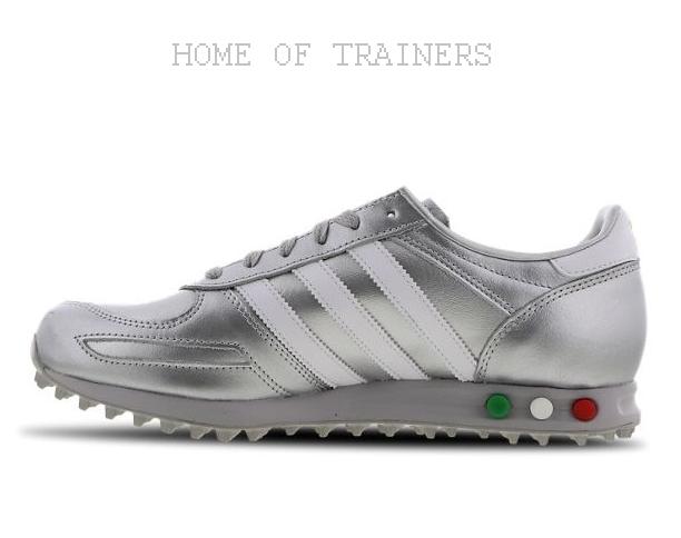 Adidas La Metallisch Silber Weiß Rot Herren Turnschuhe Alle Größen