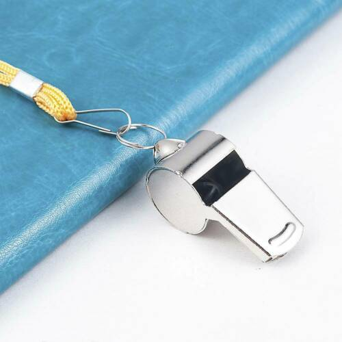 Stainless Steel Sport Game Referee Whistle Lanyard Emergency Loud Sound