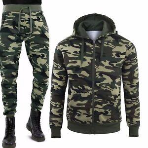 Con Felpa Zip Tuta Militare Mimetica Sportiva Uomo Pantalone Cappuccio Intera naw7pZPq