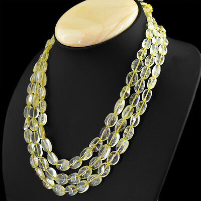 BEAUTIFUL 448.00 CTS NATURAL RICH YELLOW CITRINE 3 LINE OVAL BEADS NECKLACE