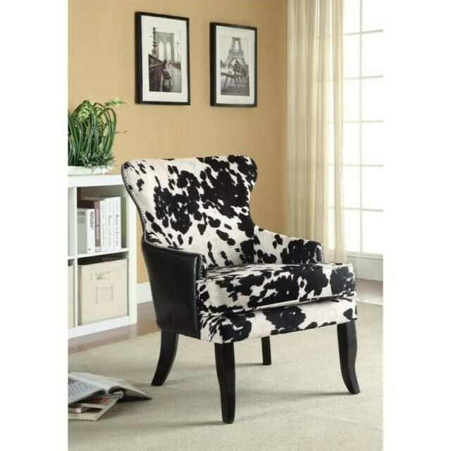 Fantastic Coaster Cowhide Print Accent Chair In Black And White Gmtry Best Dining Table And Chair Ideas Images Gmtryco