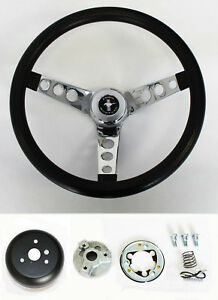 NEW-1965-1969-Mustang-Black-Steering-Wheel-Grant-13-1-2-034-with-chrome-spokes