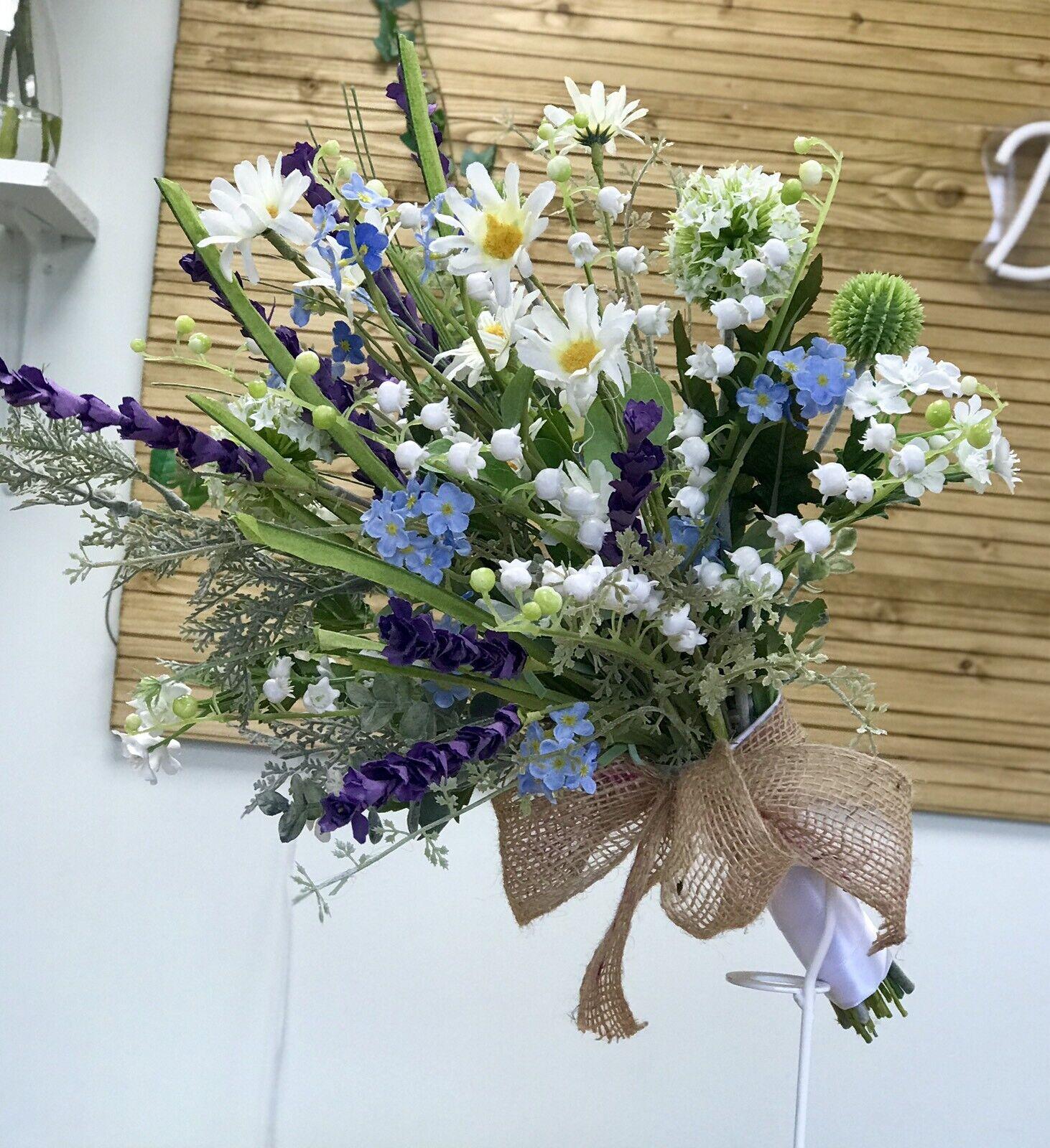 Wild Flower Wedding Bouquet, Bridal, English Heath Daisy, Forget Me Knot Display