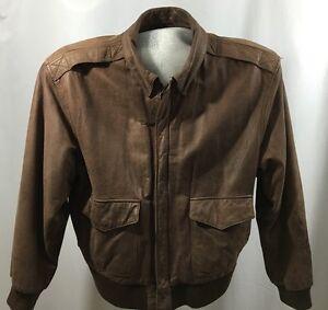 Vtg-Men-039-s-Global-Identity-G-III-Leather-Bomber-Jacket-Coat-Size-L-Lined