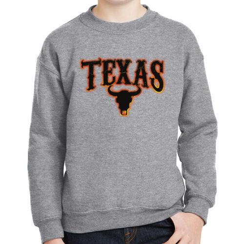 Texas Bull Kids Sweatshirt Flame and Skull Long Sleeve 1871C