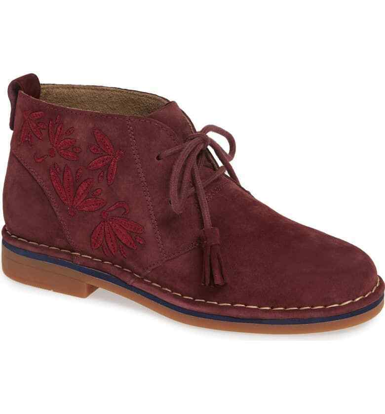 NEW Hush Puppies Cyra Catelyn Boot, Wine Embroidered Suede, Women Size 5.5  120