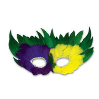 Purple Green Yellow Mardi Gras Madness Feather Eye Mask 1044 Masquerade Party
