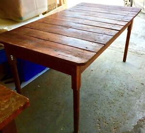 """Farmhouse plank top table part oak farm primitive 64"""""""