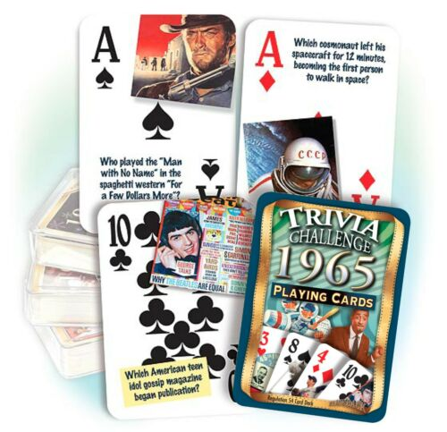 Flickback 1965 Trivia Playing Cards Great Birthday or Anniversary Gift