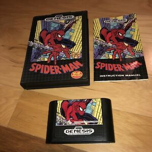 VG-COND-Spider-Man-1-Sega-Genesis-Game-COMPLETE-CIB-Tested-Works-Great-Original