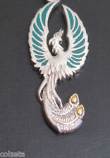 FIREBIRD PHOENIX PENDANT sterling silver & gold vermiel inlaid with MALACHITE