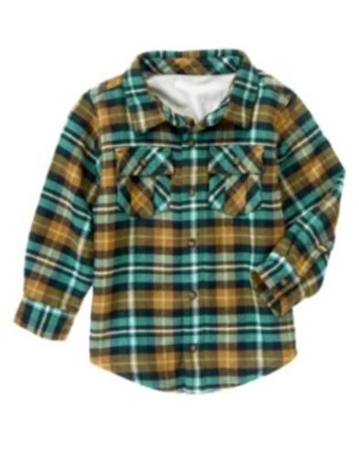 GYMBOREE LOCH NESS HEROES GREEN PLAID LINED SHACKET TOP 3 4 5 6 7 8 10 12 NWT
