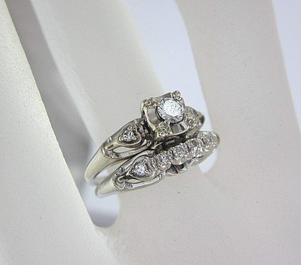 LADIES 14K WHITE gold DIAMOND ENGAGEMENT RING SET; TDW 0.275CT. 4.1G