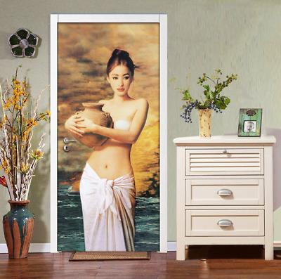 3D Self-adhesive Hand-painted Figure Beauty Art Oil Painting Door Murals Sticker
