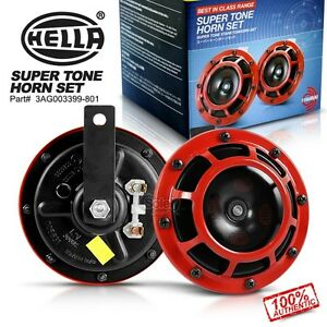 Loud Car Horn >> New Genuine Hella Red Super Tone Dual Car Horn 12v 118db Loud Bmw