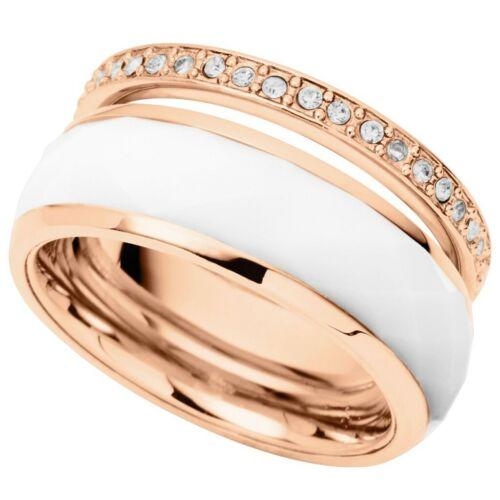 Fossil Damen Ring Edelstahl rosé weiß Glas 15,9 mm Größe 50 JF01123