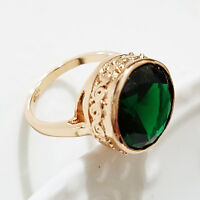 Hand Carved 5 Ct Green Emerald Round Ring Engagement Wedding Size 7 18K A143