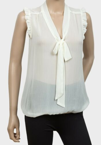 Womens Sheer Blouse Top Sizes 6 8 10 12 14 New Ladies Cream Bow front Sleeveless