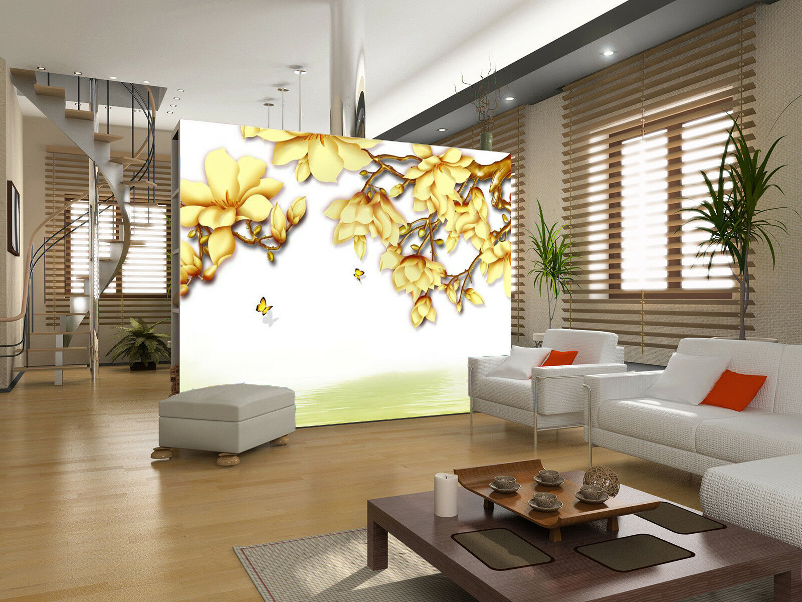 3D Gelb Flowers 75 Wallpaper Mural Paper Wall Print Wallpaper Murals UK