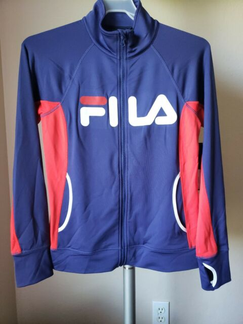 NWT FILA Sports Women's Track Jacket Blue Red White Full Zip Training Size M $60