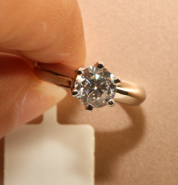 Bridal Engagement Ring Round Diamond 1.50 Carat in 14k White gold Finish 6