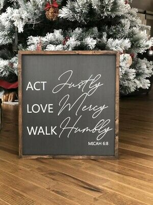 Act Justly Love Mercy Walk Humbly 12 x 12 Wood Decorative Sign Plaque