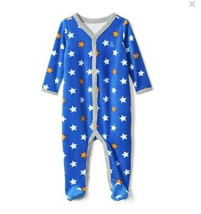 f3d27ed61b6b Baby Gap Boy Starry Velour Footed One Piece Romper Star Blue Size 0 ...