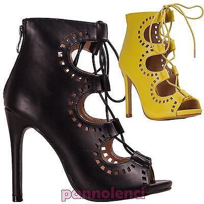 Femmes Chaussures Bottes Bottines à Gros Talon Ajourés Lacets Hauts Neuf Il159 2 | eBay