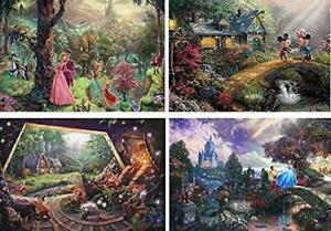 4in1 Thomas Kinkade Disney Art Puzzles 500-Pcs Mikey Mouse Cinderella Snow White