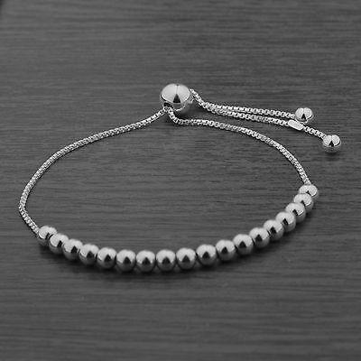 Genuine 925 Sterling Silver Adjustable 4mm Ball Bead Slider Bracelet Chain